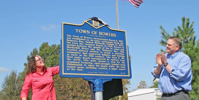 Bowers Mayor and Colin Bonini unveil historical marker