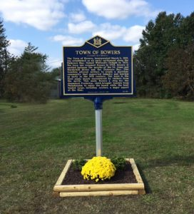 The Town of Bowers new Historical Marker.